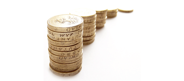 Pound coins stacked